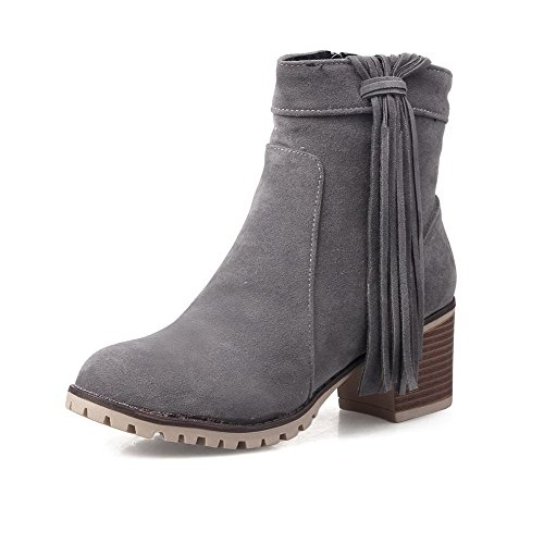 top Allhqfashion Suede Heels Women's Closed Solid Low Boots Gray Round Kitten Toe Imitated UU1xw