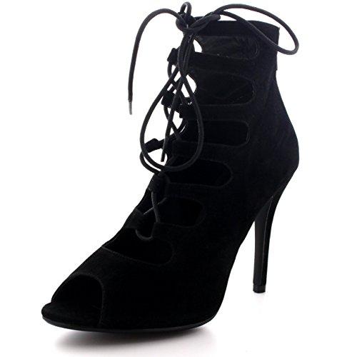 Pumps Gladiador Cordones Fiesta Tacones Toe Negro Mujer Zapatos Peep Estiletes Altos Viva OqE58S6