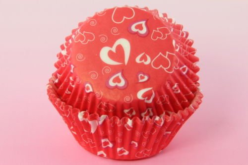 Disposable Baking Cups Mini Cupcake Liners Baking Cups Red Hearts Standard Size 2'' Valentine's Day 1sets of 150 Cupcake Paper Liners
