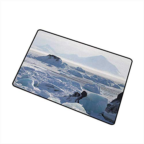 Decorative Floor Mat Colorful Alaska,Arctic Winter with Ice Lake Photo from the Northern Part of World Cold Wilderness,White Brown,for Indoor/Outdoor/Front Door/Shower Bathroom 35