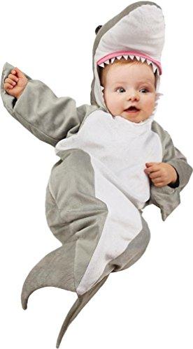 Underwraps Costumes Baby's Shark Bunting Costume, Grey/White, Infant (Baby Bunting Halloween Costume)