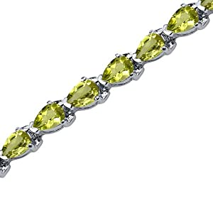Magnificent Desire: 9.50 carats total weight Pear Shape Peridot Gemstone Bracelet in Sterling Silver Rhodium Finish by peora