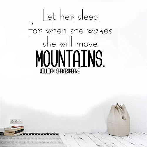 Vinyl Wall Art Inspirational Quotes and Saying Home Decor Decal Sticker Let Her Sleep for When She Wakes She Will Move Mountains for Bedroom Girls Room Nursery Kids Room