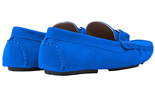 Santimon Mens Casual Silver Buckle Leather Slip-On Loafer Driving Car Shoes Moccasin Shoes Blue ynszSxqIV