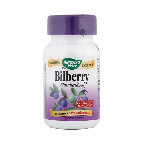 Natures Way Standardized Bilberry Extract Capsule - 60 per Pack - 3 Packs per case.