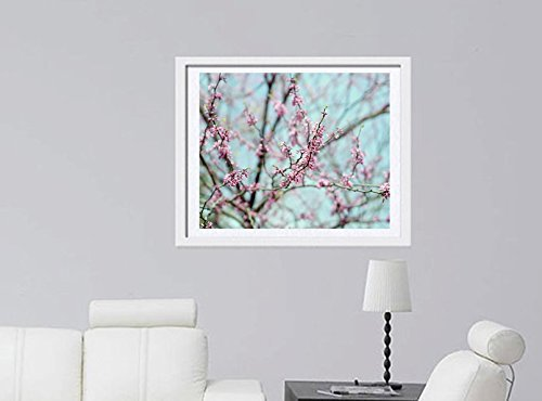 Pink Blossom Photography, Flowering Tree Branches Photo Print 5x7, 8x10, 11x14, 12x16, 16x20 Pastel Aqua Pink Bedroom Wall Decor, Baby Girl Nursery Wall Art