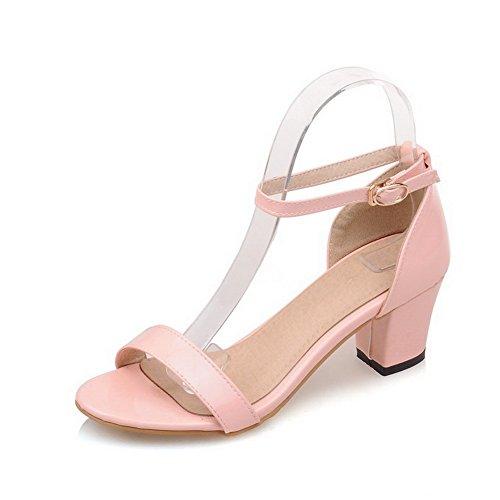 WeiPoot Women's Solid PU Kitten Heels Open Toe Buckle Sandals, Pink, 35 by WeiPoot