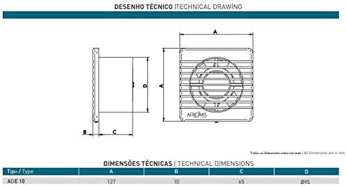 AEROMIS ventilador extractor de pared y techo para cocina o ba/ño