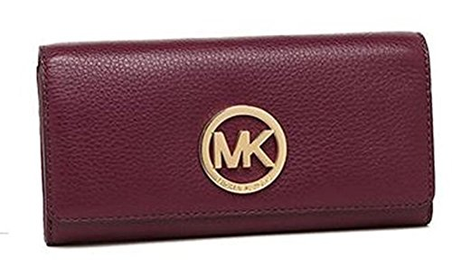 MICHAEL Michael Kors Fulton Leather Carryall Card Holder (Plum) by MICHAEL Michael Kors