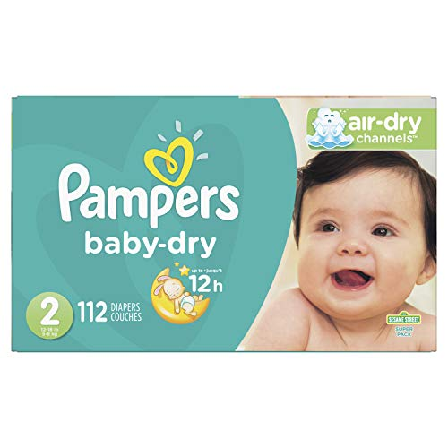 Diapers Size 2, 112 Count - Pampers Baby Dry Disposable Baby Diapers, Super Pack (Packaging May Vary) from Pampers