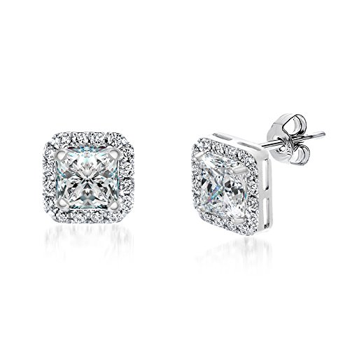 Classic Rhodium Square CZ Cubic Zirconia Halo Post Stud (Michele Vintage Earrings)