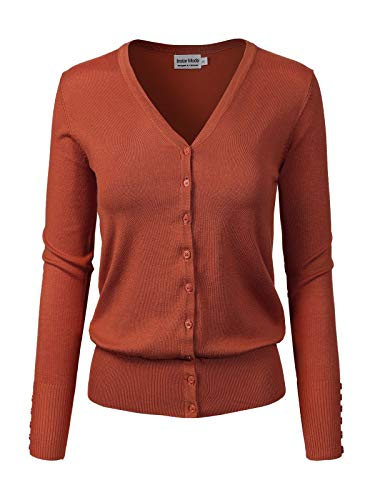 Instar Mode Women's Classic Button Down Long Sleeve V-Neck Soft Knit Sweater Cardigan [S-3XL] Rust M