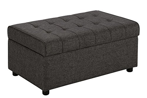 DHP Emily Rectangular Storage Ottoman, Modern Look with Tufted Design, Lightweight, Grey Linen (Ottoman Tufted Storage)