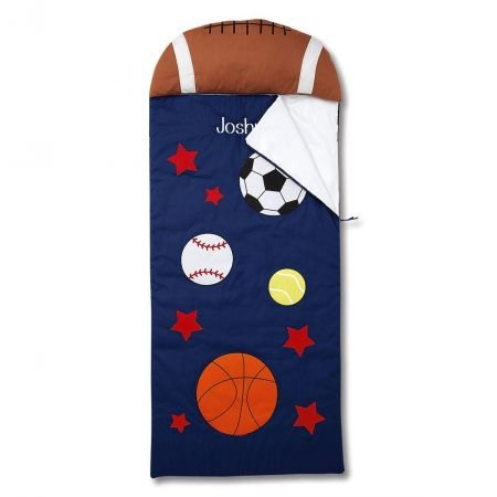 Lillian Vernon Sports Personalized Kids' Sleeping Bag with Pillow - Boys' Indoor Sleeping Bag by Lillian Vernon