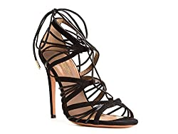 Aquazzura Women S Black Suede Leather High Heel Sandals Shoes Size 10 Us