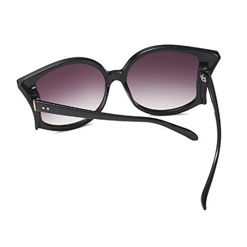 sol de las UV400 verano Oscuro Gris gafas de de de Gafas mujeres grandes manera sol las de de mujeres Huicai las de la pZwSqPn