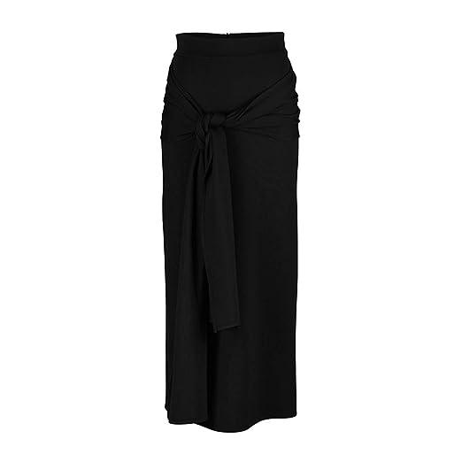 Falda larga elegante color solido de cintura elastica para fiestas en la playa, o bodas.