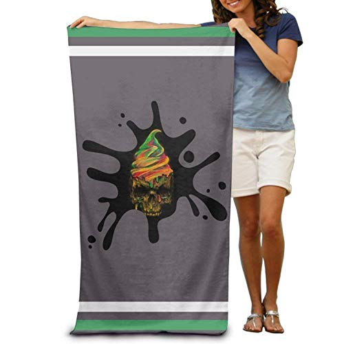 (Microfiber Sand Free Beach Towel Blanket, Absorbent Lightweight Thin Towels, Graphic Ice Cream Skull Adults Cotton Beach Towel 31 X 51-Inch)
