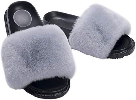 HONGTEYA Summer Real Fur Slides Slippers Comfort Fuzzy Sandals Shoes for Women and Toddler Girls Indoors Outdoors Fluffy Flip Flops