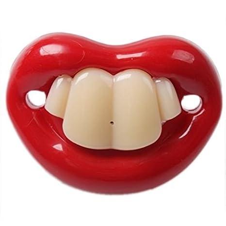 8 m?-?Chupete divertido con forma de boca y dientes, 6?Tipi ...
