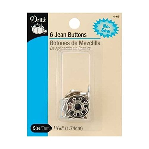 No-Sew Jean Buttons (5/8 Inches) 6 Per Pack - Nickel
