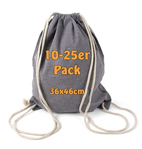Cottonbagjoe Moderner Turnbeutel Baumwollrucksack Öko-Tex Standard Zertifiziert Stoffbeutel mit Kordelzug 36x46cm