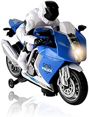 WolVol Cool Bump and Go Police MotoRCycle 2 Wheeled Vehicle Toy with