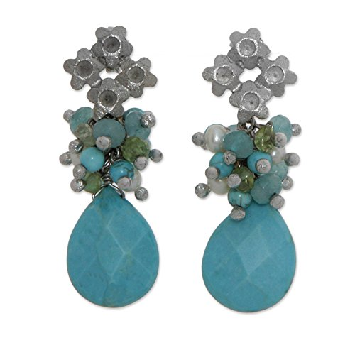NOVICA Multi-Gem Cultured Akoya Pearl Rhodium Plated Cluster Earrings 'Flowering ()