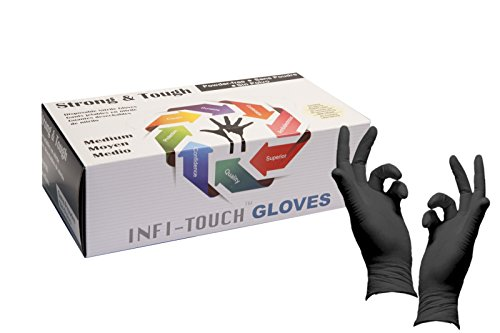 Infi-Touch Heavy Duty Nitrile Gloves, Strong & Tough, High Chemical Resistant, Disposable Gloves, Powder Free, Non Sterile, Ambidextrous, Finger Tip Textured, Dispenser Pack of 100, Size Medium.