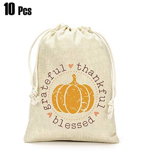 Thanksgiving Day Gifts Bags- Grateful Thankful Blessed Gift Bags, Pumpkin Gift Bag, Thanksgiving Day Decoration, Holiday Supplies- Set of 10 (Thanksgiving For The Gift Of A Child)