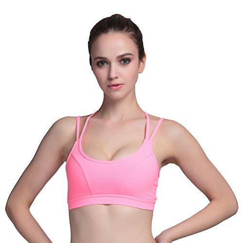 AIYIHAN Sujetador deportivo para Mujer Yoga Wirefree Sexy Running Bras Rojo