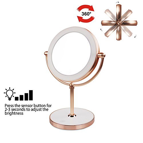 Vanity Mirror with LED lights,Natural Lighted Cosmetic Mirror with 7X Magnification,360 Degree Swivel,Rose Gold by THE D&B CRAFTS LLC (Image #4)