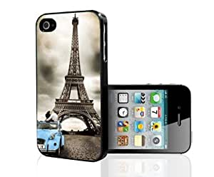Blue Car in Paris Hard Snap on Case (iPhone 4/4s)