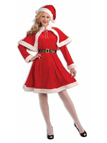 Miss Santa Suit Christmas Costume Velvet Dress Capelet Adult Lady Std Mrs Claus (America Deluxe Pirate Captain Costume)