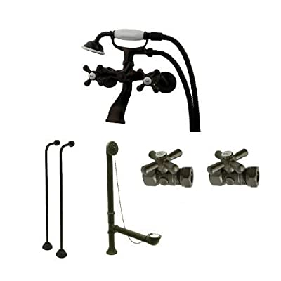 Kingston Brass CCK265 Vintage Clawfoot Tub Faucet Package with Hand shower, Tub,