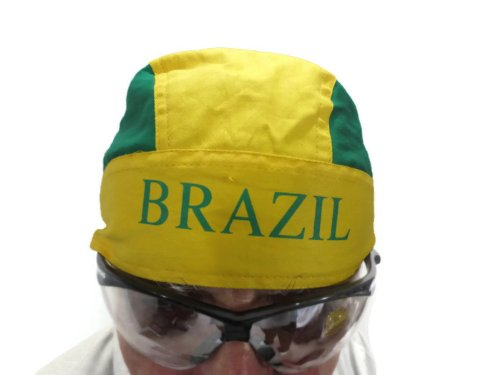 """World Cup 2014 Brazil Country Flag Multi Purpose Dorag/Cyclist Cap/Bandana. 100% Cotton. Unisex. Special Edition. Limited Quantity. New Style.Vibrant Color with """"Brazil"""" Printed on the Front.One Size Fits All."""