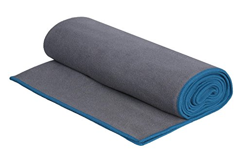 DG Sports Microfiber Yoga Towel - Ideal for Hot Yoga, Bikram Yoga, Ashtanga Yoga and General Fitness - Ultra Absorbent - Non-Slip - Machine Washable (Blue)