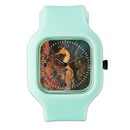 SeaFoam Fashion Sport Watch Seahorse Holding Coral