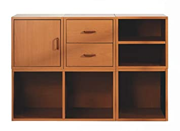 Foremost 340022 Modular 5 In 1 Shelf Cube Storage System, Honey