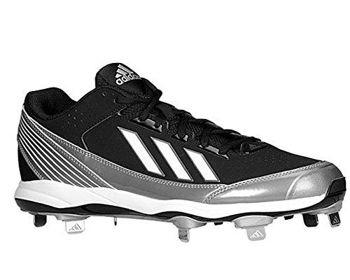 adidas Performance Men's Poweralley Metal Low Baseball Cleat, Core Black/Running White/Neo Iron, 11 M US