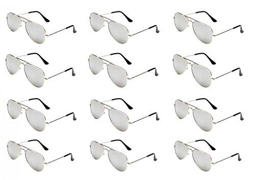 WODISON Classic Kids Aviator Sunglasses Bulk Metal Frame Children Party Eyeglasses 12 Packs (Store Rays Party)