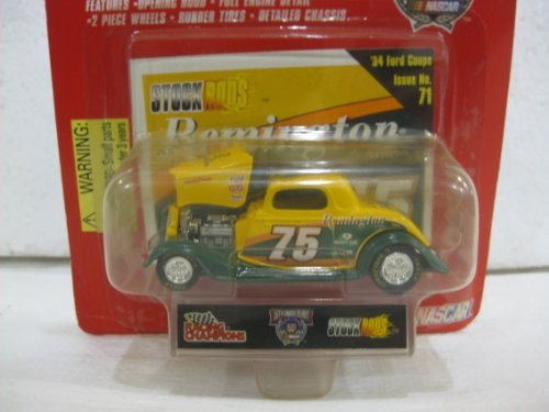 32 Scale Stock (Rick Mast #75 Remington 1934 Ford Coupe Nascar In Yellow & Green Diecast 1:64 Scale Stock Rods By Racing Champions)