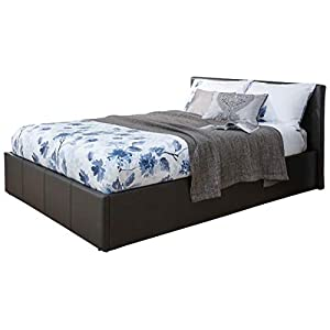 Caspian Ottoman Gas Lift Up Storage Bed Black Brown White (Black, 5ft Kingsize)