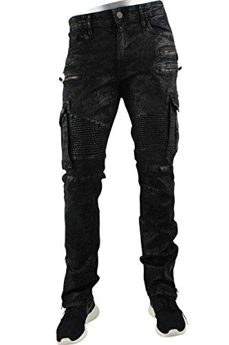 Jordan Craig Noir Skinny Biker Acid Wash Cargo Denim Mirror Black (JM2152) Sz. 38 x 32 by Jordan Craig