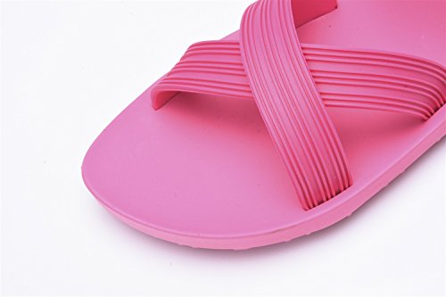 TMKOO Masculinos y femeninos par zapatillas marea sandalias de polvo negro de la manera romana sandalias de fondo grueso y zapatillas palabra arrastre Rosado