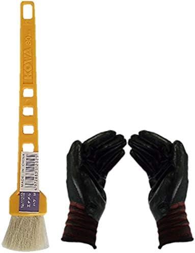 黄柄エナメルハケM (作業手袋付き)通常便