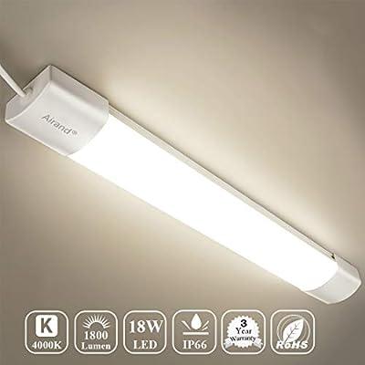 Airand LED Shop Light for Garage Lighting Fixture 18W 2FT LED Wraparound Ceiling Light Flushmount LED Tube Light for Garage, Shop, Cabinet, Attic, Basement, Home, shoplight