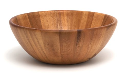 (Lipper International 1154 Acacia Round Flair Serving Bowl for Fruits or Salads, Large, 12