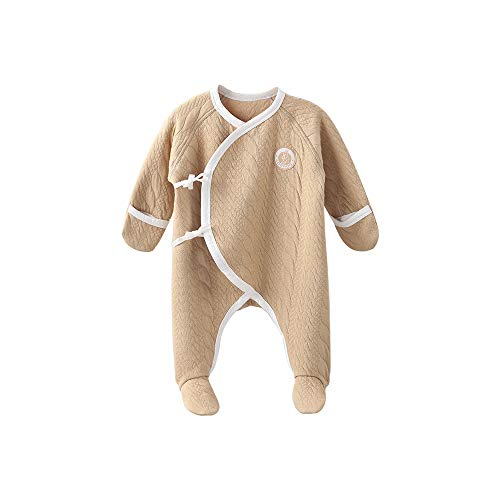 COBROO 100% Cotton Baby Footed Pajamas for Sleep and Play Infant Footies Sleepwear with Mittens Comfy Warm Baby Outfits 0-3 Months Khaki