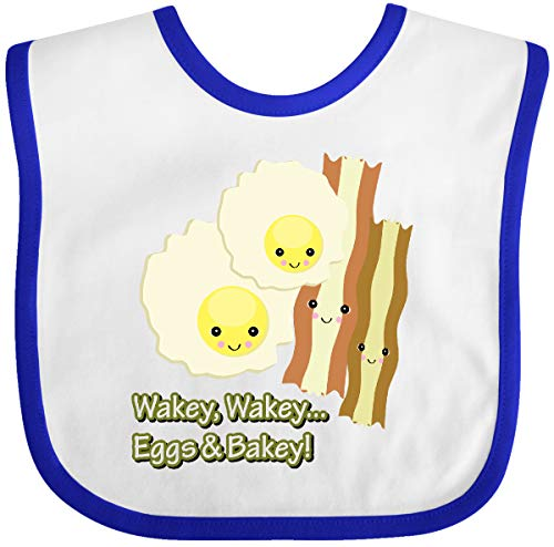 Inktastic - cute kawaii wakey wakey eggs n bakey Baby Bib White/Royal 2b2c
